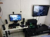 Mein Arbeitsplatz + Rechner + Fernseher