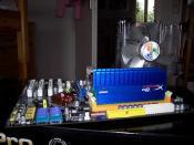 mein Board mit CPU-Kühler und Ram