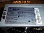 Vorher im Aufrüst-PC verbautes Netzteil (Daten).